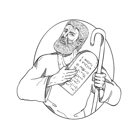Drawing sketch style illustration of Moses, a prophet in the Abrahamic religions holding the Ten Commandments tablet and his staff set inside oval on isolated white background done in black and white. Illustration