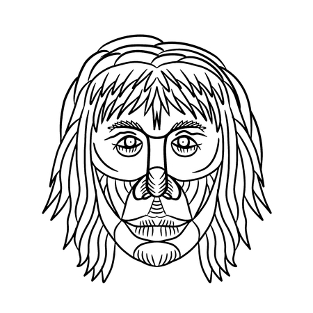 Drawing sketch style illustration of a homo habilis face, one of the earliest members of the genus Homo or early primitive man viewed from front on isolated white background in black and white. Illustration