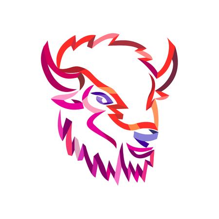 Illustrazione di stile del nastro riccio della testa di un bisonte americano o di un bufalo americano, una specie nordamericana di bisonte vista dal lato fatto in arte linea ritorta a flusso libero su sfondo isolato. Vettoriali