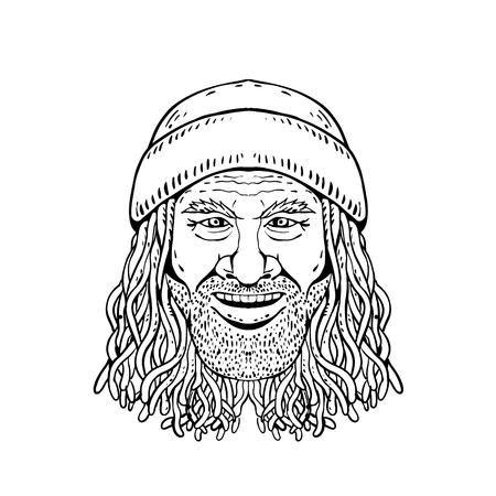 Drawing sketch style illustration of head of a Rastafarian dude, Rastafari or guy practising Rastafarianism, an Abrahamic religion developed in Jamaica in 1930s on white background in black and white. Banco de Imagens - 116518007