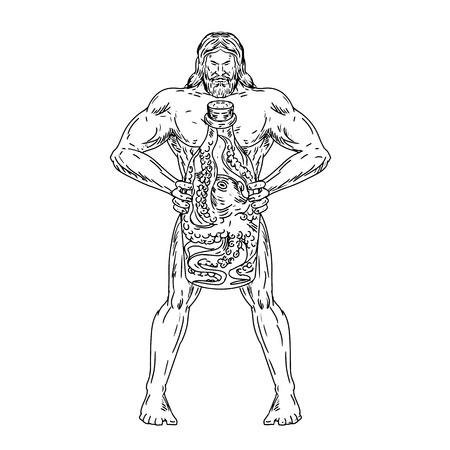 Drawing sketch style illustration of Hercules, a Roman hero and god equivalent to Greek divine hero Heracles, holding a bottle with an octopus inside on isolated white background in black and white. Illustration