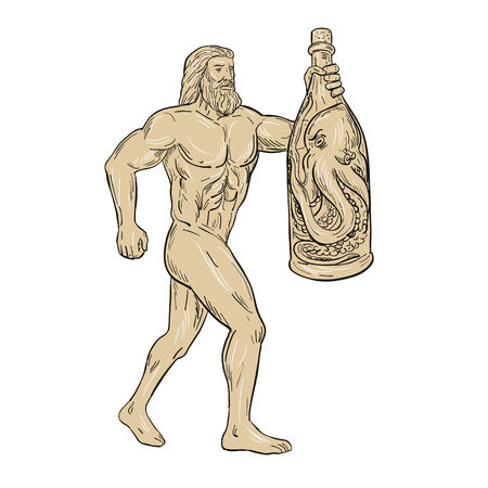Drawing sketch style illustration of Hercules, a Roman hero and god holding a bottled up angry octopus on isolated white background.