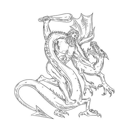 Ilustración de estilo boceto de dibujo de Hércules, un héroe romano y dios equivalente al héroe divino griego Heracles, luchando contra un dragón medieval sobre fondo aislado en blanco y negro.