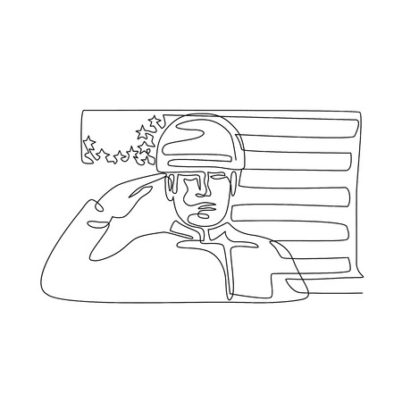 Continuous line illustration of an American soldier or military personnel saluting USA stars and stripes flag viewed from front  done in black and white monoline style.