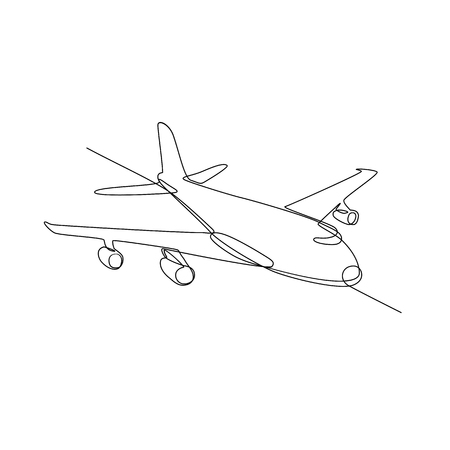 Continuous line illustration of jumbo jet passenger plane airliner or airplane flying in full flight in mid-air done in black and white monoline style.