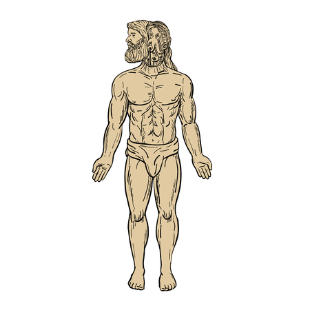 Drawing sketch style illustration of a male human being with an alien-like octopus inside his head, manipulating his body in disguise viewed from front on isolated white background.