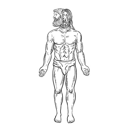 Drawing sketch style illustration of a male bearded human being with an alien-like octopus inside his head, manipulating his body in disguise viewed from front on isolated white background in black and white.
