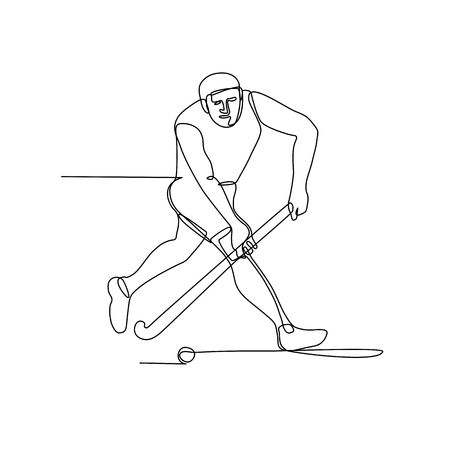Continuous line illustration of a field hockey player with hockey stick running about to hit ball done in black and white monoline style.