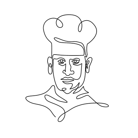 Continuous line illustration of head of a chef, cook or baker wearing toque hat viewed from front done in black and white monoline style.