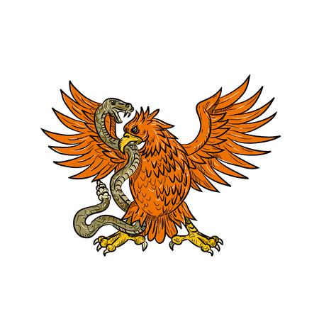 Illustrazione di stile di schizzo di disegno di un'aquila reale americana, un'aquila messicana o un caracara crestato settentrionale che afferra un serpente a sonagli, una vipera, un serpente o un serpente in bianco e nero su sfondo isolato.