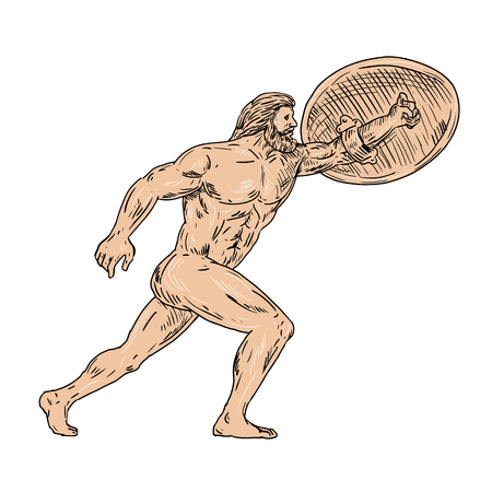 Drawing sketch style illustration of Hercules, a Roman hero and god equivalent to Greek divine hero Heracles, with shield and urginf forward on isolated white background.