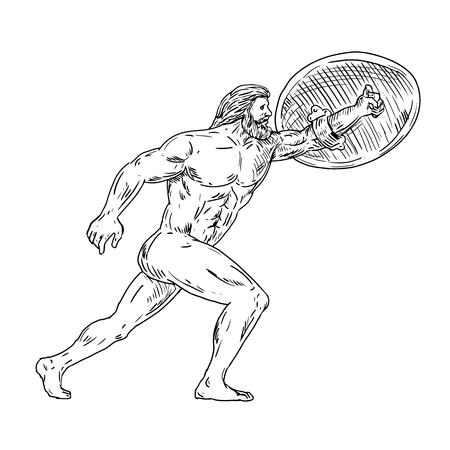 Schizzo di disegno illustrazione dello stile di Eracle, un eroe divino greco equivalente all'eroe e al dio romano, Ercole con scudo e urginf in avanti fatto in bianco e nero.