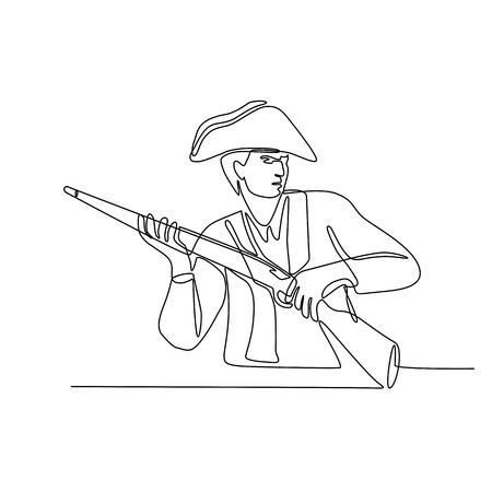 Continuous line illustration of an American minuteman, patriot or revolutionary soldier with musket rifle, a muzzle-loaded long gun done in black and white monoline style.