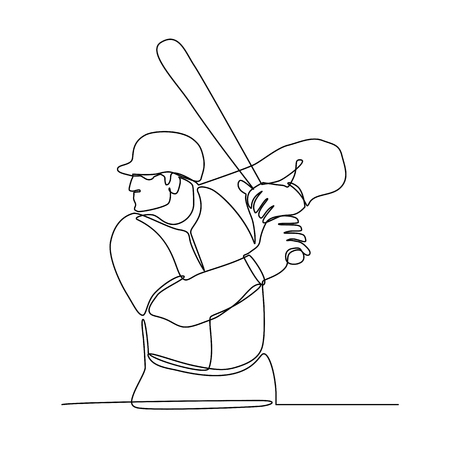 Illustration en ligne continue d'un joueur de baseball avec batte au bâton vu de côté fait dans le style monoline noir et blanc. Vecteurs