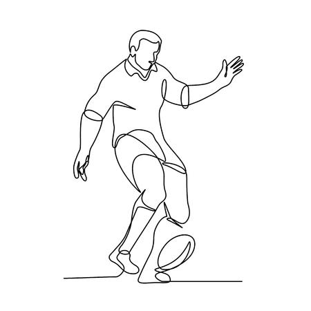 Illustrazione a linea continua di un giocatore di rugby che calcia la palla per un obiettivo sul campo o un calcio d'inizio eseguito in stile monolinea in bianco e nero.
