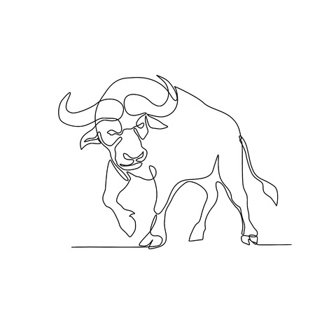 Continuous line illustration of an African buffalo or Cape buffalo, a large African bovine, about to charge or attack done in black and white monoline style. Imagens - 124638569