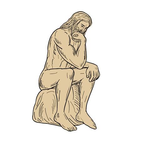 Dessin illustration de style croquis d'un homme ou d'un penseur avec une barbe pleine assis pensant sur fond blanc isolé.