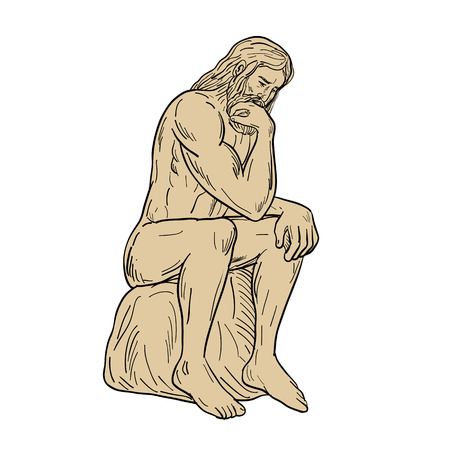 Drawing sketch style illustration of a man or thinker with full beard sitting down thinking on isolated white background. Illustration