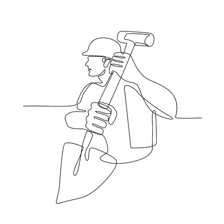 Continuous line illustration of a construction worker, handyman or gardener holding spade shovel done in black and white monoline style. Illustration