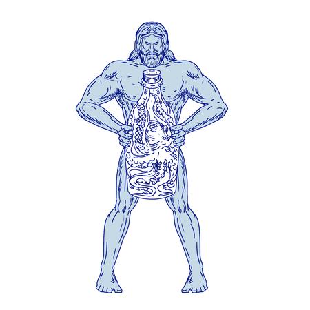 Schizzo di disegno illustrazione dello stile di Ercole, un eroe romano e dio equivalente all'eroe divino greco Eracle, che tiene in mano una bottiglia con un polpo all'interno su sfondo bianco isolato.