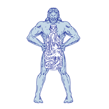 Drawing sketch style illustration of Hercules, a Roman hero and god equivalent to Greek divine hero Heracles, holding a bottle with an octopus inside on isolated white background.