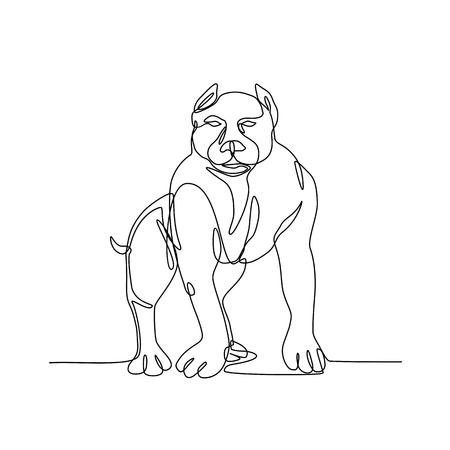 Continuous line illustration of an  American Bully, pit bull, a type of dog descended from bulldogs and terriers  done in black and white monoline style.