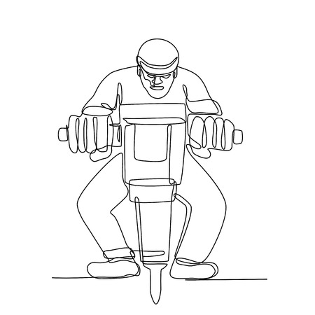 Continuous line illustration of construction worker with jackhammer, a portable  pneumatic or electro-mechanical tool that is a hammer and drill done in black and white monoline style. Illustration