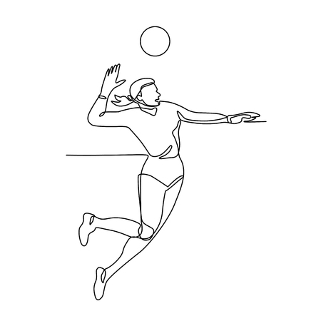 Continuous line illustration of female volleyball player jumping and spiking the ball viewed from side done in black and white monoline style. Ilustrace