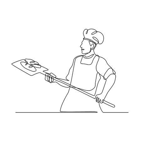Continuous line illustration of a baker holding an oven peel viewed from side done in black and white monoline style.