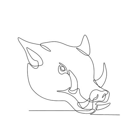 Ilustración de línea continua de una cabeza de cerdo salvaje, cerdo, jabalí o razorback visto desde el lado hecho en estilo monoline blanco y negro. Ilustración de vector