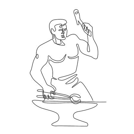 Illustration en ligne continue d'un forgeron avec un marteau et des pinces martelant l'enclume vue de l'avant en style monoline noir et blanc.