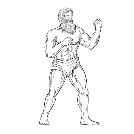 Drawing sketch style illustration of a bearded vintage boxer with full beard, with fists on chest ready to fight in boxing fighting stance on isolated white background in black and white.