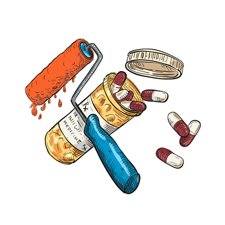 Drawing sketch style illustration of concept of paint doctor shown as a crossed paint roller and medicine or pill capsule container bottle on isolated white background in full color.