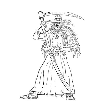 Drawing sketch style illustration of Ankou, henchman of Death, keeper of lost souls and graveyard watcher in Breton mythology with scythe like Grim Ripper on isolated background in black and white.