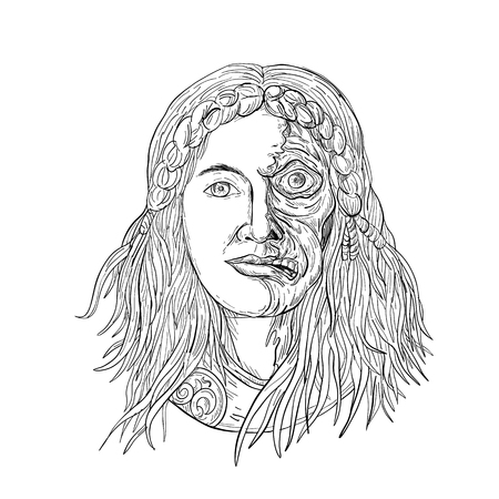 Drawing sketch style illustration of  face of Norse goddess, Hel with face half skeleton and half flesh with  gloomy, downcast appearance viewed from front on isolated white background in black and white. Иллюстрация
