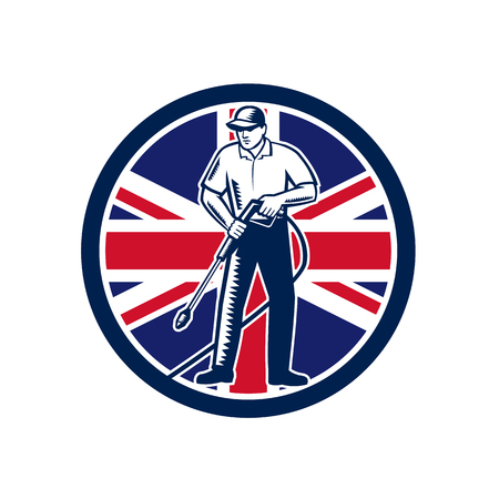 Illustration of British worker with pressure washer chemical washing using high-pressure water spray with UK United Kingdom Union Jack flag set inside circle done in retro woodcut style.