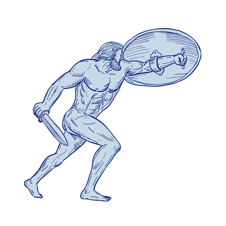 Drawing sketch style illustration of Hercules, a Roman hero and god equivalent to Greek divine hero Heracles, shielding with shield and carrying a sword on isolated white background. Illustration