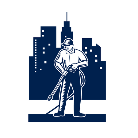Illustration of male worker with pressure washer chemical washing using high-pressure water spray with urban buildings and cityscape in background done in retro woodcut style.