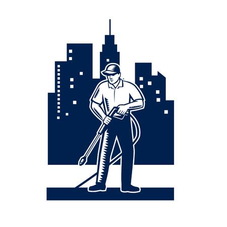 Ilustracja mężczyzny z myjką ciśnieniową mycia chemicznego przy użyciu strumienia wody pod wysokim ciśnieniem z budynków miejskich i pejzażu miejskiego w tle wykonanej w stylu retro drzeworyt.