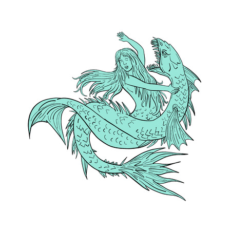 Drawing sketch style illustration of a a mermaid or siren grappling a sea serpent or monster on isolated white background. Иллюстрация