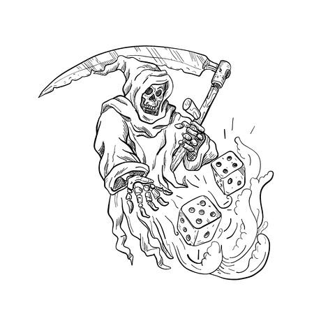 Zeichnung Skizze Stil Illustration des Sensenmanns mit einer Sense, die die Würfel auf isoliertem weißem Hintergrund in Schwarzweiß wirft.