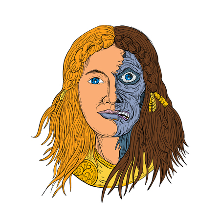 Drawing sketch style illustration of face of Hel, a goddess in Norse mythology, with face half skeleton and half flesh with  gloomy, downcast appearance viewed from front on isolated white background in color.