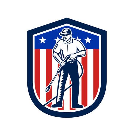 Illustratie van mannelijke werknemer met hogedrukreiniger chemische wassen met behulp van hogedruk waternevel met USA Amerikaanse sterren strepen vlag ingesteld binnen schild gedaan in retro houtsnede stijl.