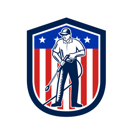 Illustration eines männlichen Arbeiters mit chemischer Hochdruckwäsche unter Verwendung von Hochdruckwasserspray mit USA American Stars Stripes Flag im Schild im Retro-Holzschnitt-Stil.