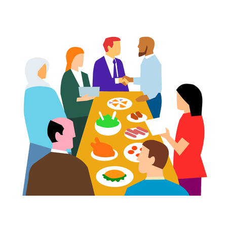Retro style illustration showing the concept of diversity in workplace with diverse cultures in an office party celebration on isolated white background.