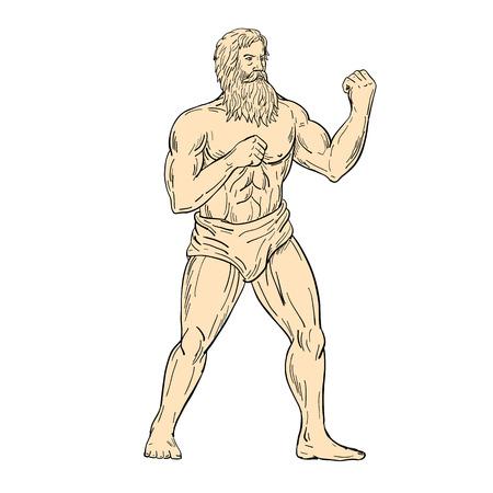 Illustrazione di stile di schizzo di disegno di un Ercole, un eroe romano e un dio, con i pugni sul petto pronti a combattere nella posizione di combattimento di boxe del pugile su sfondo bianco isolato a colori.