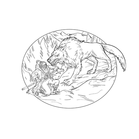 Drawing sketch style illustration of Norse god, Odin, god of wisdom and war, being attacked by Fenrir, a monstrous wolf in Norse mythology set inside oval shape a on isolated white background.