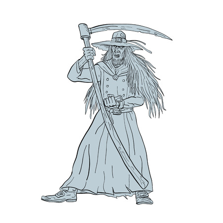 Drawing sketch style illustration of Ankou, henchman of Death, Celtic keeper of lost souls and graveyard watcher in Breton mythology with hat and scythe like the Grim Ripper on isolated background.