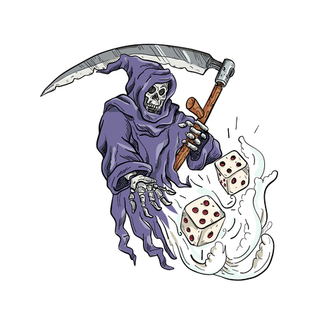 Drawing sketch style illustration of the personification of death, the Grim Reaper holding a scythe throwing and rolling the dice on isolated white background done in color.