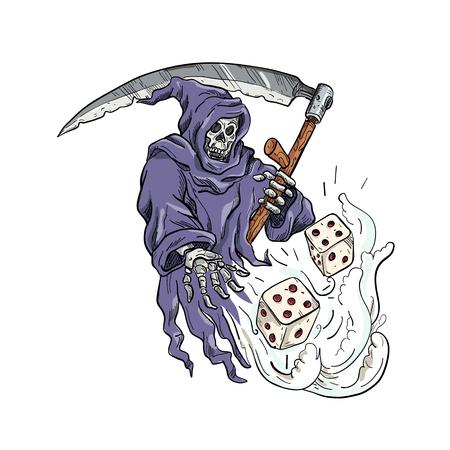 Schizzo di disegno illustrazione dello stile della personificazione della morte, il Grim Reaper che tiene una falce che lancia e tira i dadi su sfondo bianco isolato fatto a colori.